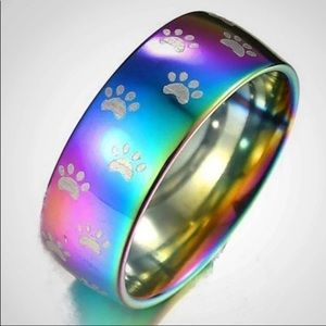 Stainless steel rainbow iridescent ring w/paws